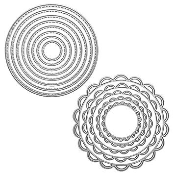 2 paquetes de plantillas de troquelado de metal moldes de plantilla, FineGood herramienta de repujado para hacer tarjetas, álbumes de recortes, DIY papel de ...