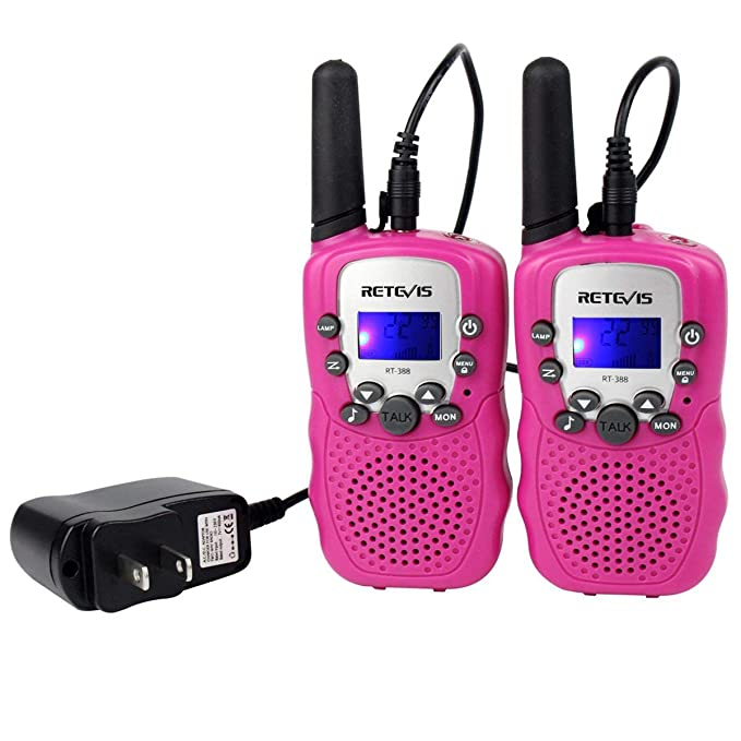 Retevis RT-388 Kids Walkie Talkies Rechargeable FRS Toy Gift 22 Channel Walkie Talkies for Kids (Pink,1 Pair)