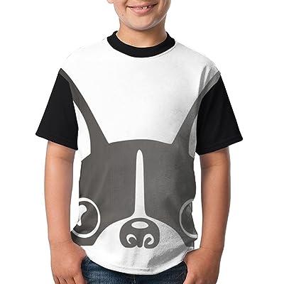 BDS1YO Youth Short Sleeved T - Shirt Printing LogoFrench Bulldog Round Neck Cotton T-Shirt Boys Tee