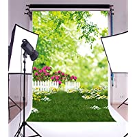 5x7ft Thin Vinyl Photography Background Outdoors Spring Lawn Florets Fresh Trees White Fence Scene Baby Newborn Birthday Kids Photo Backdrops For Studio Props 1.5x2.2meter size