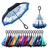 NewSight Reverse/Inverted Double-Layer Waterproof Straight Umbrella, Self-Standing & C-Shape Handle & Carrying Bag for Free Hands, Inside-Out Folding for Car Use (Pomelo Design)