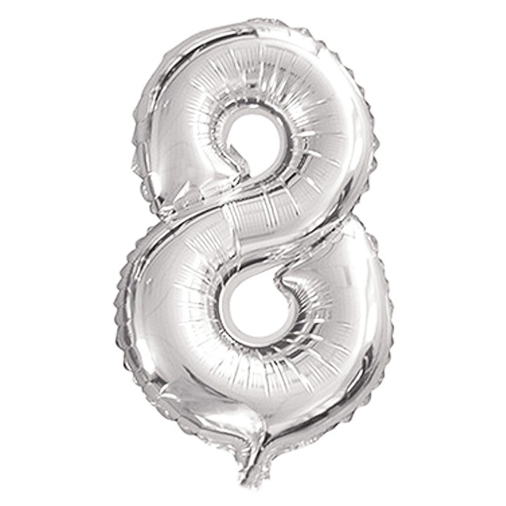 Ecape Silver Number Balloons,32 inch 0-9 Helium Foil Party Mylar Balloons Birthday Decorations Silver-One Lins