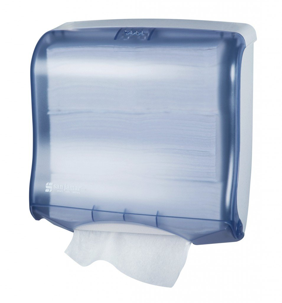 San Jamar T1755 Ultrafold Fusion Towel Dispenser, Fits 400 Multifold/240 C-Fold Towels, 11-1/2'' Width x 11-1/2'' Height x 6'' Depth, Arctic Blue