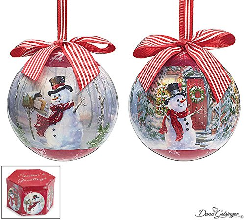 Christmas Holiday Ornaments Gift Boxed Set of 14 Snowman Scenes