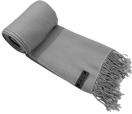 Gris Argent Couleur unique style tissé en sergé 100% Cachemire Châle Echarpe  Manteau Etole Plaid c2aed57ff3c