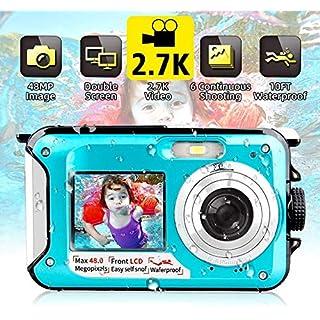 Waterproof Camera Underwater Camera FHD 2.7K 48MP Video Recorder Camcorder Selfie Dual Screen Waterproof Digital Camera for Snorkeling 10 ft underwater