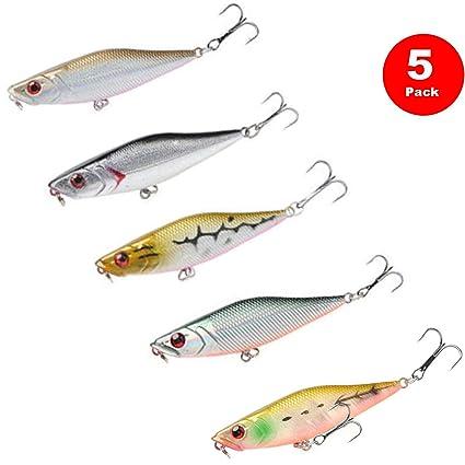 JSHANMEI Fishing Lures Hard Bait Minnow Lure with Treble Hook Life-Like Swimbait Fishing Bait 3D Fishing Eyes Crankbait for Bass Trout Walleye Redfish