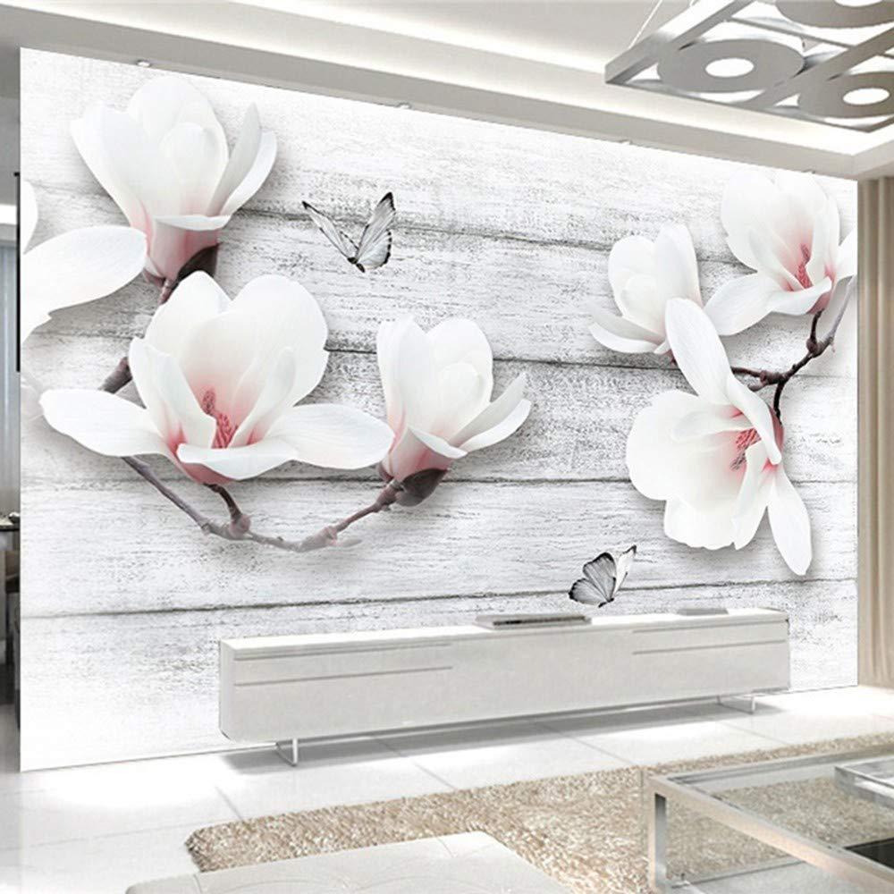 TONGSS Papier Peint Photo 3D Stéréo Magnolia Fleurs Papillon en Bois Grain Murales Salon TV Canapé Fond Mur Décor À La Maison Papier Peint