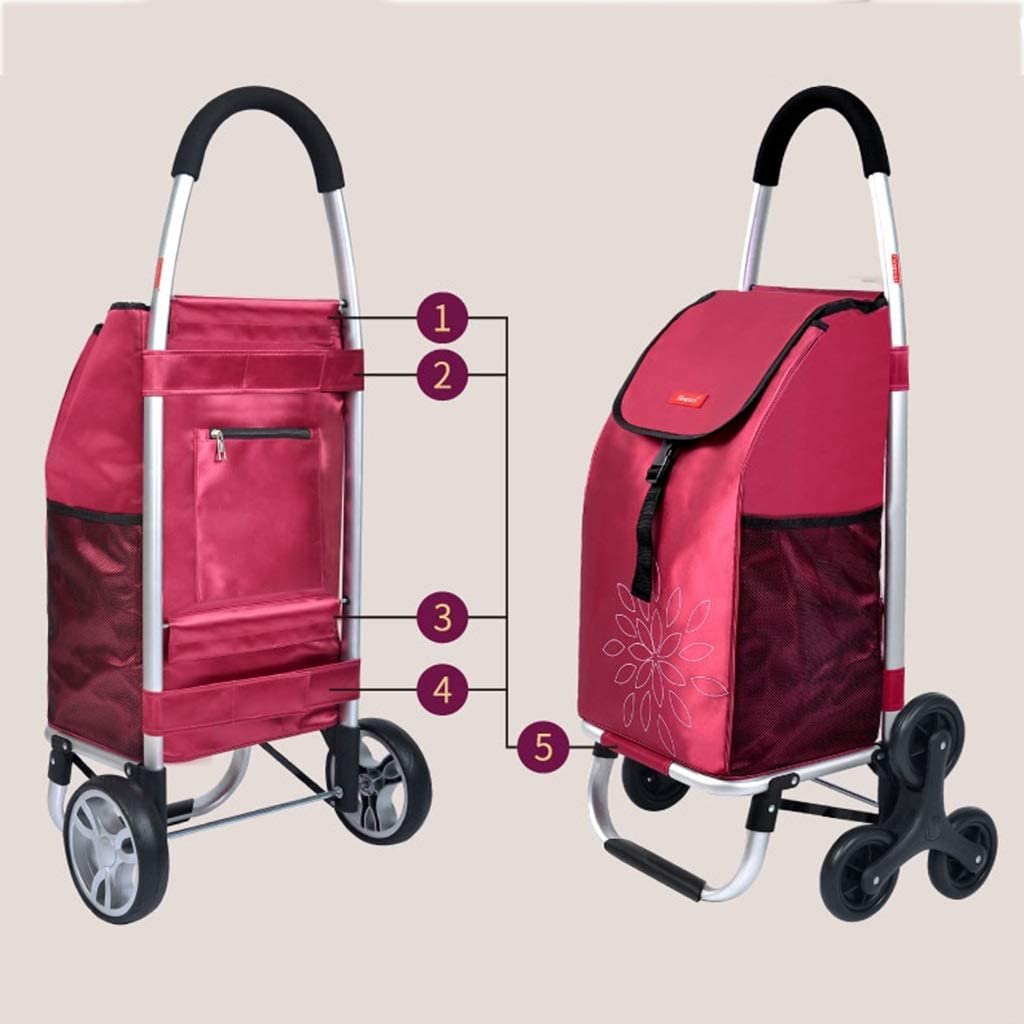 Foldable Shopping Trolley On Wheels with 2 Wheels QNJM Shopping Trolley Bag Lightweight Shopping Cart with 55L Large Capacity Color : Black