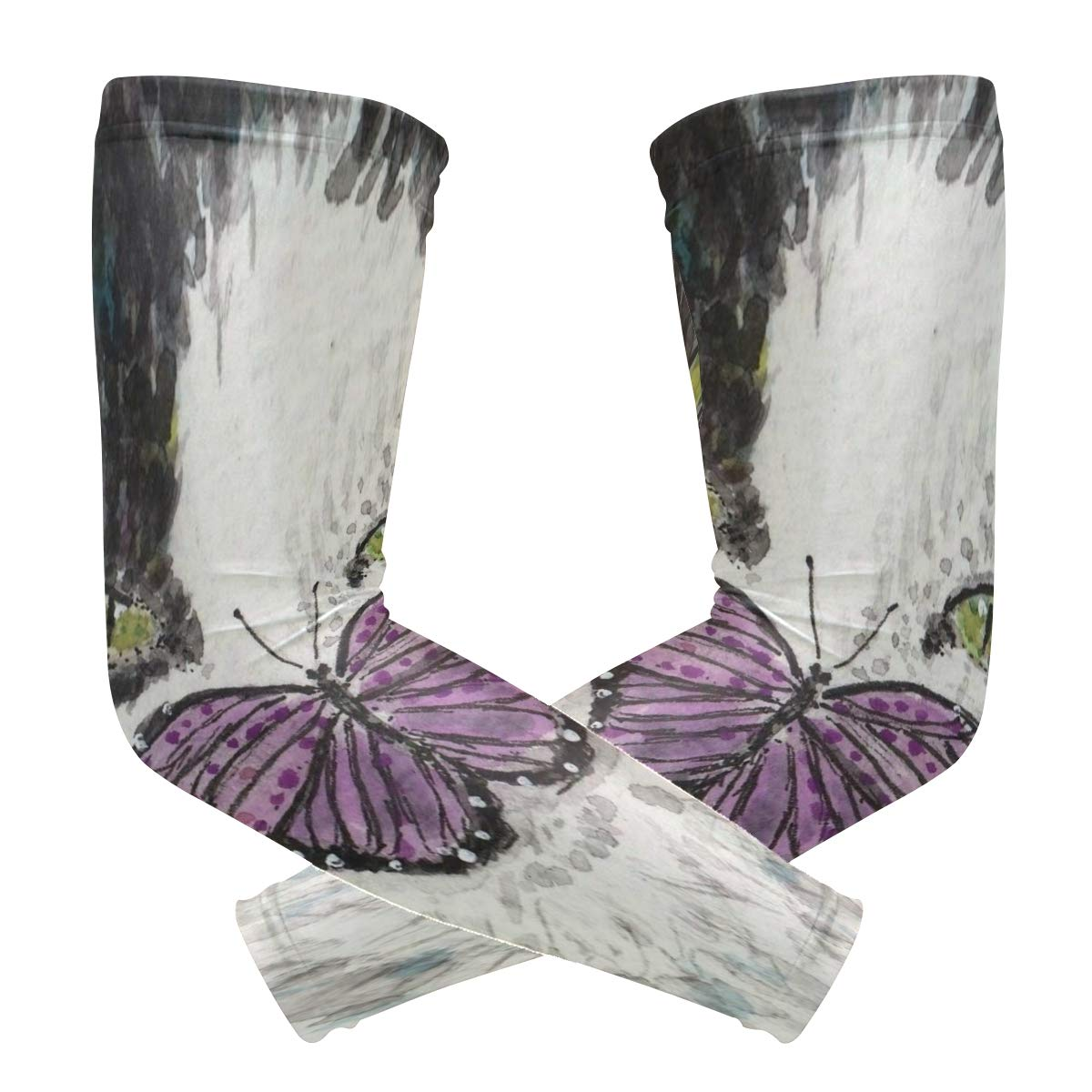 Arm Sleeves Black and White Cat Purple Butterfly Watercolor Mens Sun UV Protection Sleeves Arm Warmers Cool Long Set Covers