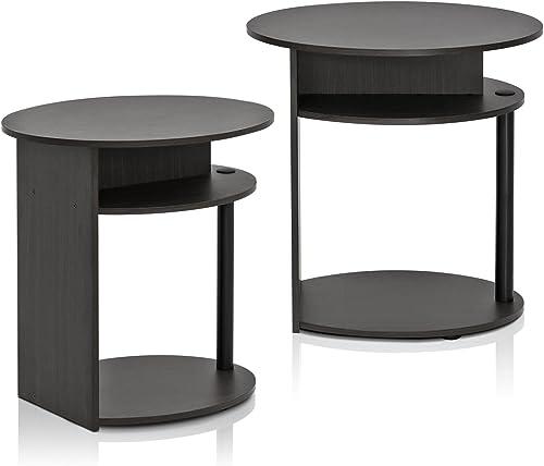 Furinno JAYA Simple Design Oval End Table Set of 2