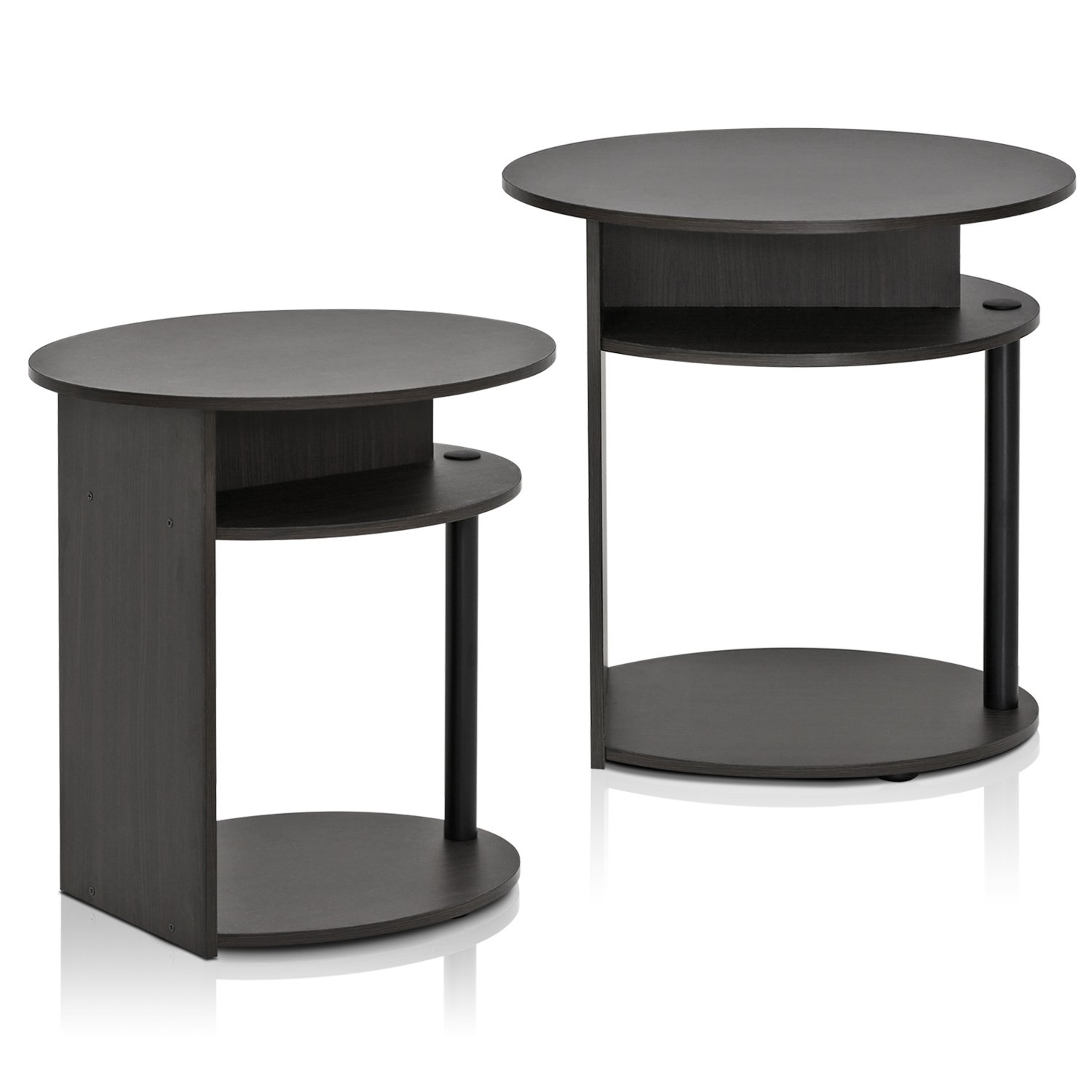 Furinno JAYA Simple Design Oval End Table Set of 2, Walnut, 2-15080WNBK