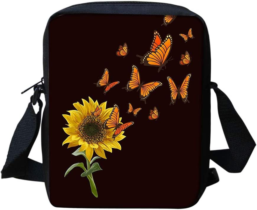 HUGS IDEA Cool Butterfly Sunflower Design Womens Crossbody Cell Phone Bags Pouch with Back Pocket Mini Messenger Purse Cell Phone Organizer