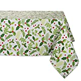 DII 60x104'' Rectangular Cotton Tablecloth, Boughs of Holly - Perfect for Dinner Parties, Christmas, Holidays, or Everyday use