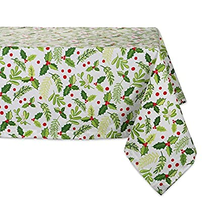 "DII 52x52"" Square Cotton Tablecloth, Boughs of Holly - Perfect for Dinner Parties, Christmas, Holidays, or Everyday use - FOR YOUR TABLE - This square tablecloth measures 52x52"", appropriate for a table that seats 4-6 people. EASY CARE - 100% cotton. Machine washable, gentle cycle. Low iron if needed. ADDS A FINISHING TOUCH - Deck the halls with boughs of holly printed in bright red and green dancing on this durable tablecloth that will last season after season. - tablecloths, kitchen-dining-room-table-linens, kitchen-dining-room - 61EIJOt5ZYL. SS400  -"