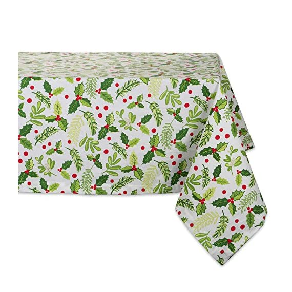 "DII 52x52"" Square Cotton Tablecloth, Boughs of Holly - Perfect for Dinner Parties, Christmas, Holidays, or Everyday use - FOR YOUR TABLE - This square tablecloth measures 52x52"", appropriate for a table that seats 4-6 people. EASY CARE - 100% cotton. Machine washable, gentle cycle. Low iron if needed. ADDS A FINISHING TOUCH - Deck the halls with boughs of holly printed in bright red and green dancing on this durable tablecloth that will last season after season. - tablecloths, kitchen-dining-room-table-linens, kitchen-dining-room - 61EIJOt5ZYL. SS570  -"