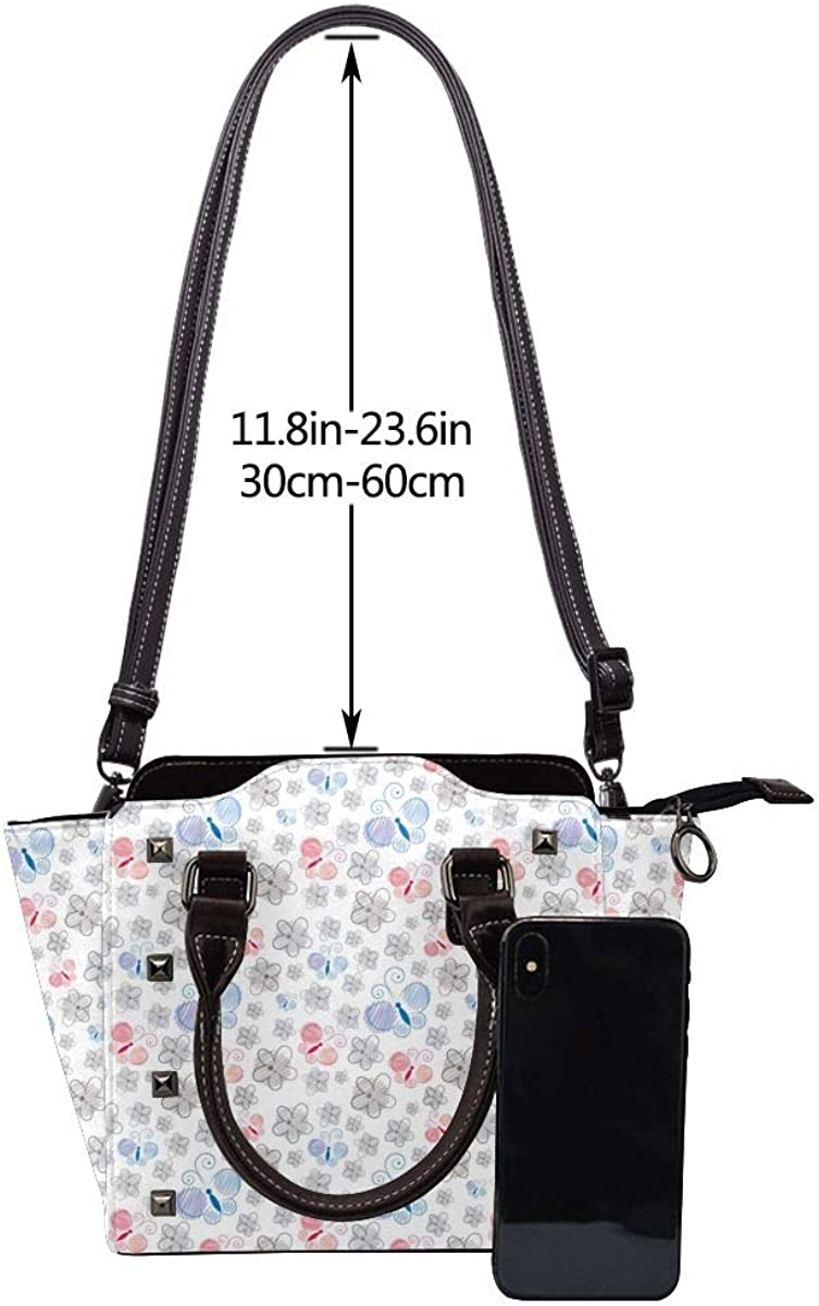 Blooming Sunflower Damen-Handtasche aus echtem Leder mit Nieten Schmetterlingsgarten