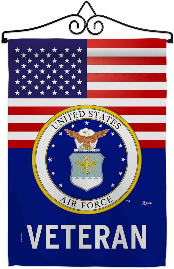 US Air Force Veteran Garden Flag - Set Wall Hanger Armed Forces USAF United State American Military Retire Official - House Decoration Banner Small Yard Gift Double-Sided Made in USA 13 X 18.5