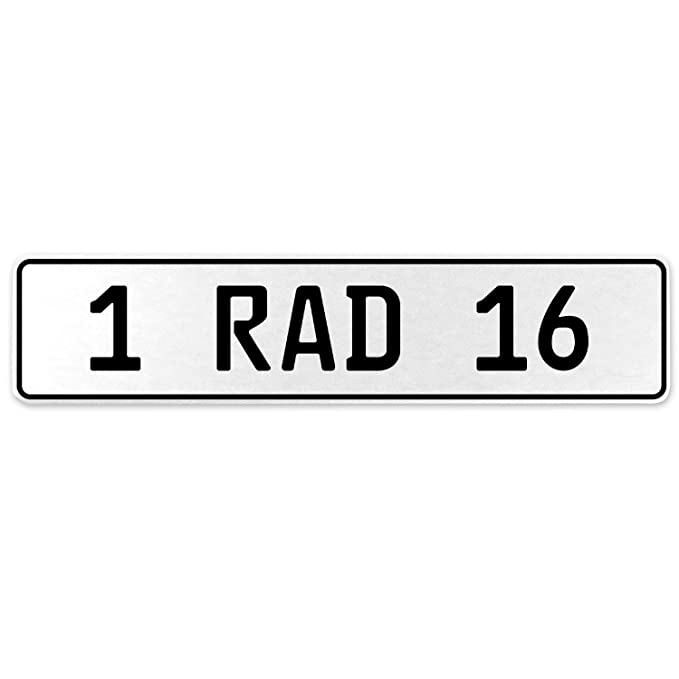 Vintage Parts 554019 1 RAD 16 White Stamped Aluminum European License Plate