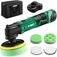 """KIMO 12V 4"""" 3000RPM Cordless Car Buffer Polisher Kit w/ 2.0Ah Battery & Fast Charger, Variable Speed, 4 Polishing Pads for Removing Car Scratch, Polishing Car/Home Appliance/Ceramic/Boat Detailing"""