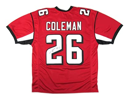save off 8415d 3cb4f Tevin Coleman Signed Jersey - Red Custom - Autographed NFL ...