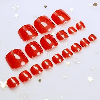 EchiQ - uñas postizas de acrílico para uñas postizas, color rojo caramelo, puntas para