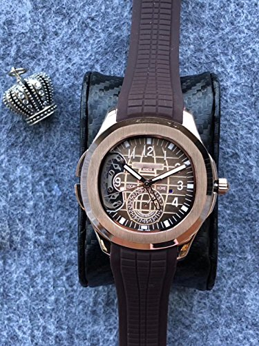 Luxury Brand Stainless Steel Gold Color Brown dial Brown Rubber Skeleton Automatic (self-Wind) Aqua Traveller Watch Watches