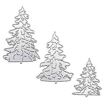 Gosear 3 Piezas Troqueles Scrapbooking, Acero al Carbono árbol de Navidad en Relieve Troqueles de Corte Plantillas Molde Conjunto para Bricolaje ...