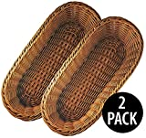 KOVOT Poly-Wicker Bread Basket Set of 2 - 14.5'' Woven Polypropylene