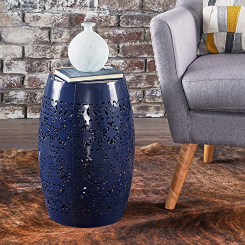Price comparison product image Attractive and Very Elegant Rustic Style Dark Blue Finish Apollos Lace Cut Iron Accent Table, End Tables Indoor/Outdoor Type
