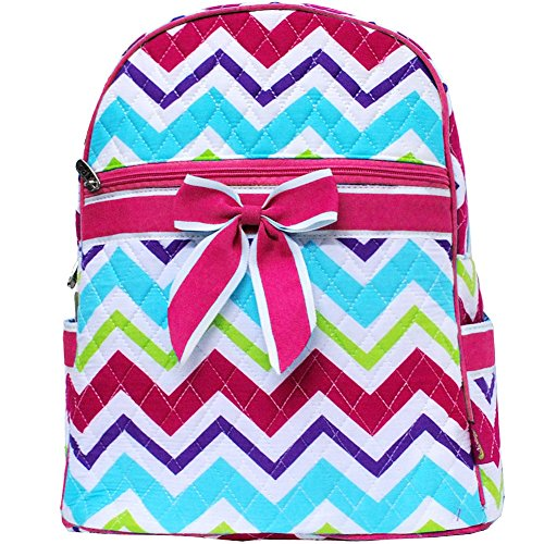 Rainbow Colored Chevron Print Quilted Backpack