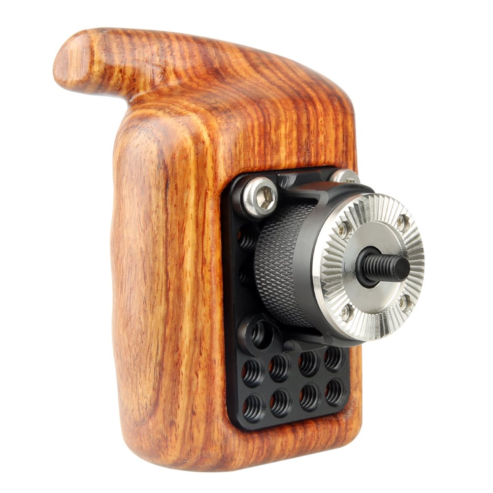 NICEYRIG Rosette Wooden Handle Grip (M6 Thread Diameter 31.8mm) Applicable Nikon Compatible with Canon Camera Cage Shoulder Mount Support Rig (Left Side) by NICEYRIG