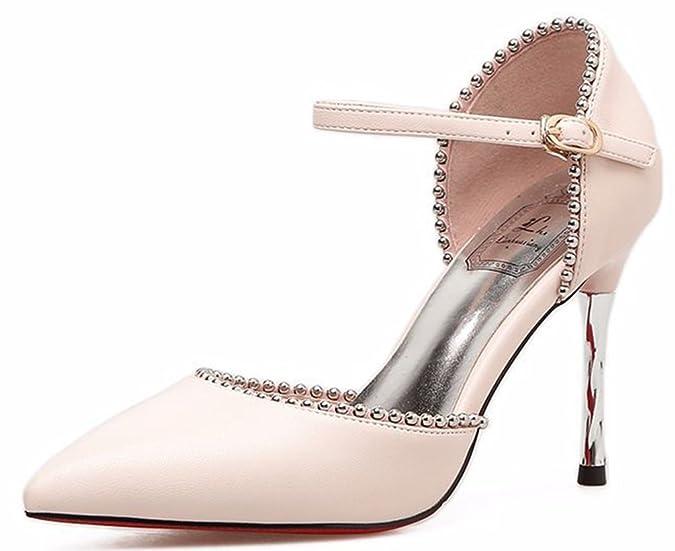 SHOWHOW Damen Nieten Spitz Geschlossen Stiletto Riemchensandalen Pink 34 EU F0xXx