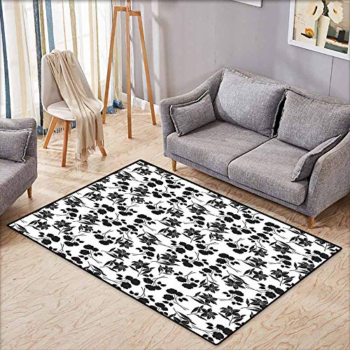 Bedroom Rug,Black and White,Romantic Botanical Garden with Rose and Lily Silhouettes Bridal,Easy Clean Rugs,4'7