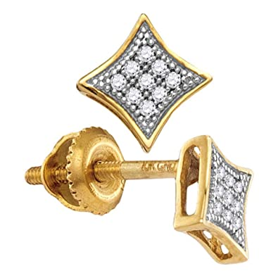 dfe505c24 Amazon.com: The Diamond Deal 10kt Yellow Gold Womens Round Diamond Square  Kite Cluster Screwback Earrings 1/20 Cttw: Jewelry