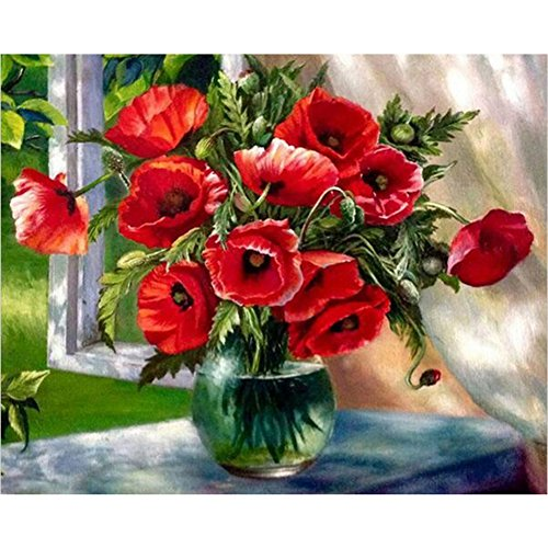 - Tutu.vivi Frame DIY Oil Painting Paint by Number Kit 16x20 inch Linen Canvas Without Frame Windowsill Vase