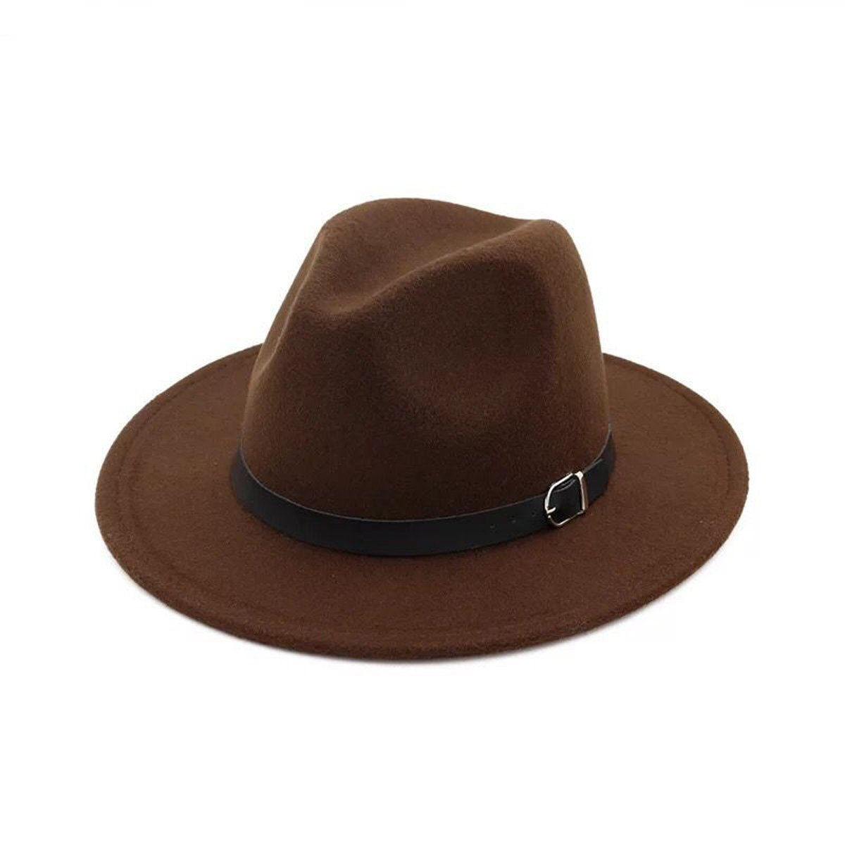 5927980b043 Lanzom Women Retro Style Wide Brim Panama Hat Belt Buckle Wool Fedora Hat  product image