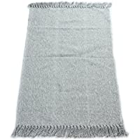 fani Hand Woven Mats Cotton Rugs For Bath Area, Living Room & Kitchen Gray Carpet with Tassels(24Inch×51Inch,Gray)