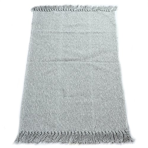 fani Handmade Flat Weave Cotton Rugs with Tassels Bedroom, Living Room & Kitchen Mat Washable Gray Carpets (24Inch×35Inch, - Cotton Weave Rug