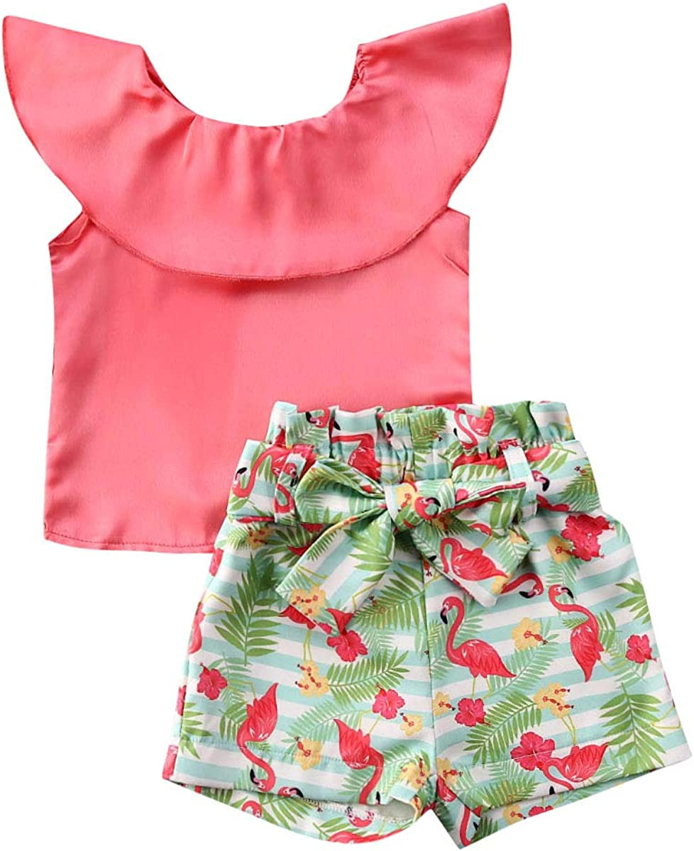 2-7Y Baby Kids Clothes Off Shoulder Ruffle Sleeveless Tops Solid T-Shirt Plaid Bow Shorts 2Pcs Summer Outfit Set