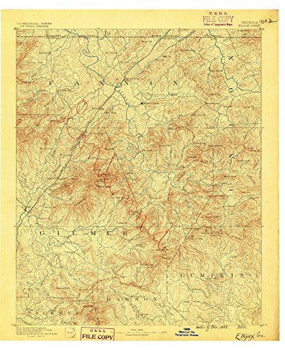 Ellijay GA topo map, 1:125000 scale, 30 X 30 Minute, Historical, 1888, 20.7 x 16.8 IN - Polypropylene