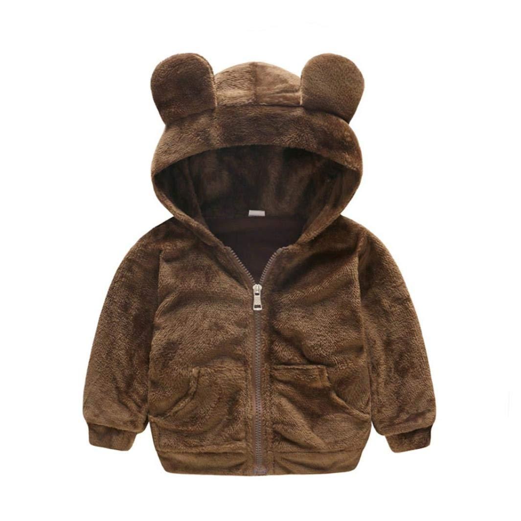 SCSAlgin Toddler Kids Baby Grils Boys Long Sleeve Zipper Hooded Coat Tops Warm Outwear (Brown, 12M)