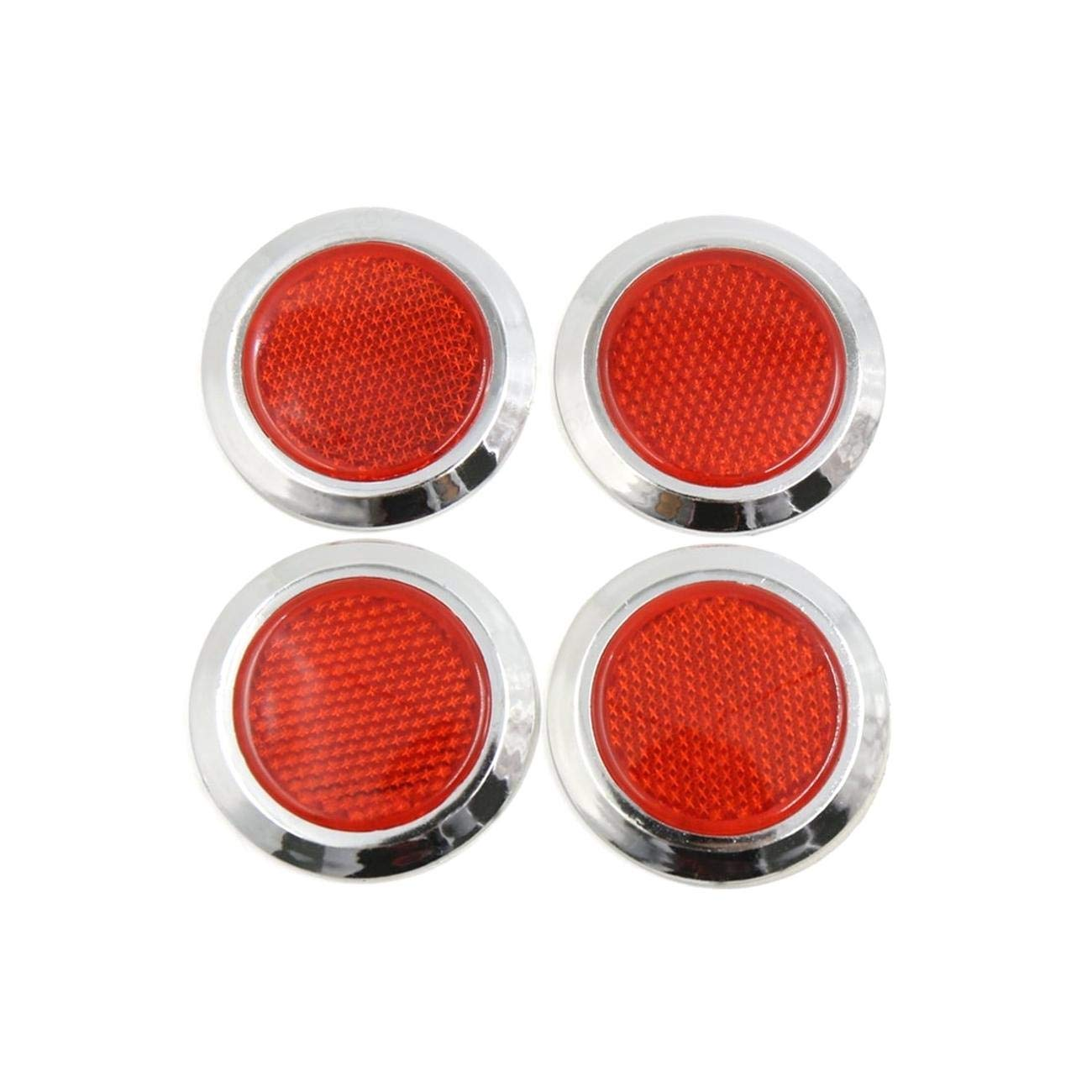 4pcs Red Silver Tone Self Adhesive Reflector Car Reflective Sticker