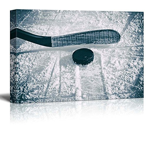 Slapshot Hockey puck and stick Sliding across the ice
