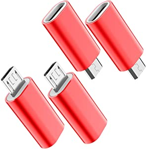 USB C to Micro USB Adapter, (4-Pack) Type C Female to Micro USB Male Convert Connector Support Charge & Data Sync Compatible with Samsung Galaxy S7/S7 Edge, Nexus 5/6 and Micro USB Devices (Red)