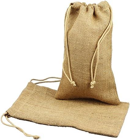 "50 Burlap Bags with Natural Jute Drawstring Sack Favor Bag 4x6 4/"" x 6/"""