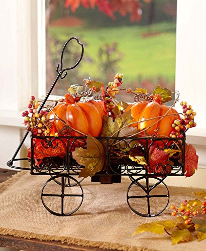 The Lakeside Collection Lighted Harvest Pumpkin Cart -