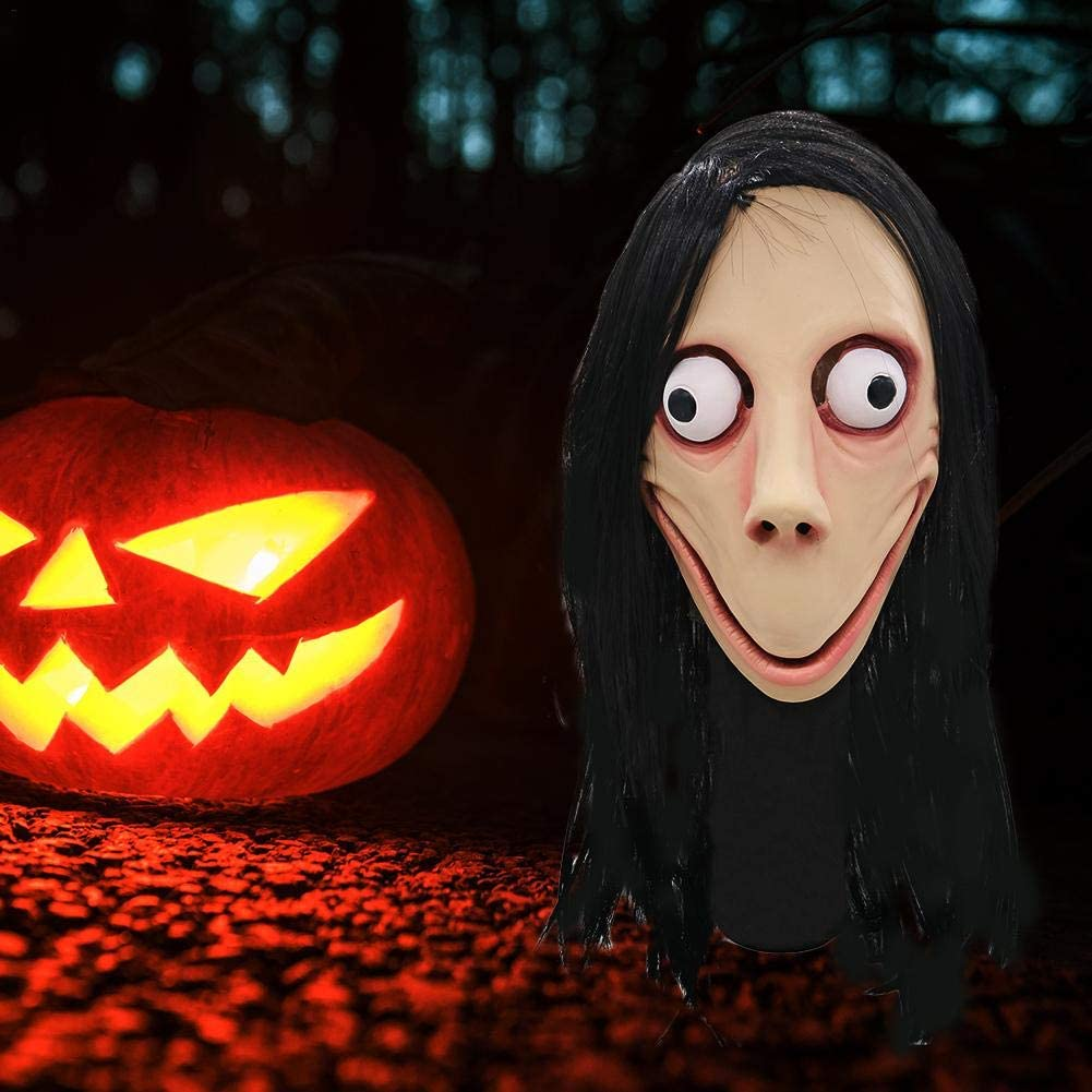 earlyad Copricapo Halloween Femmina Parrucca Fantasma Maschera Horror Gioco di Morte Maschera Momo No Bangs Stile Giochi di Ruolo Puntelli per Feste