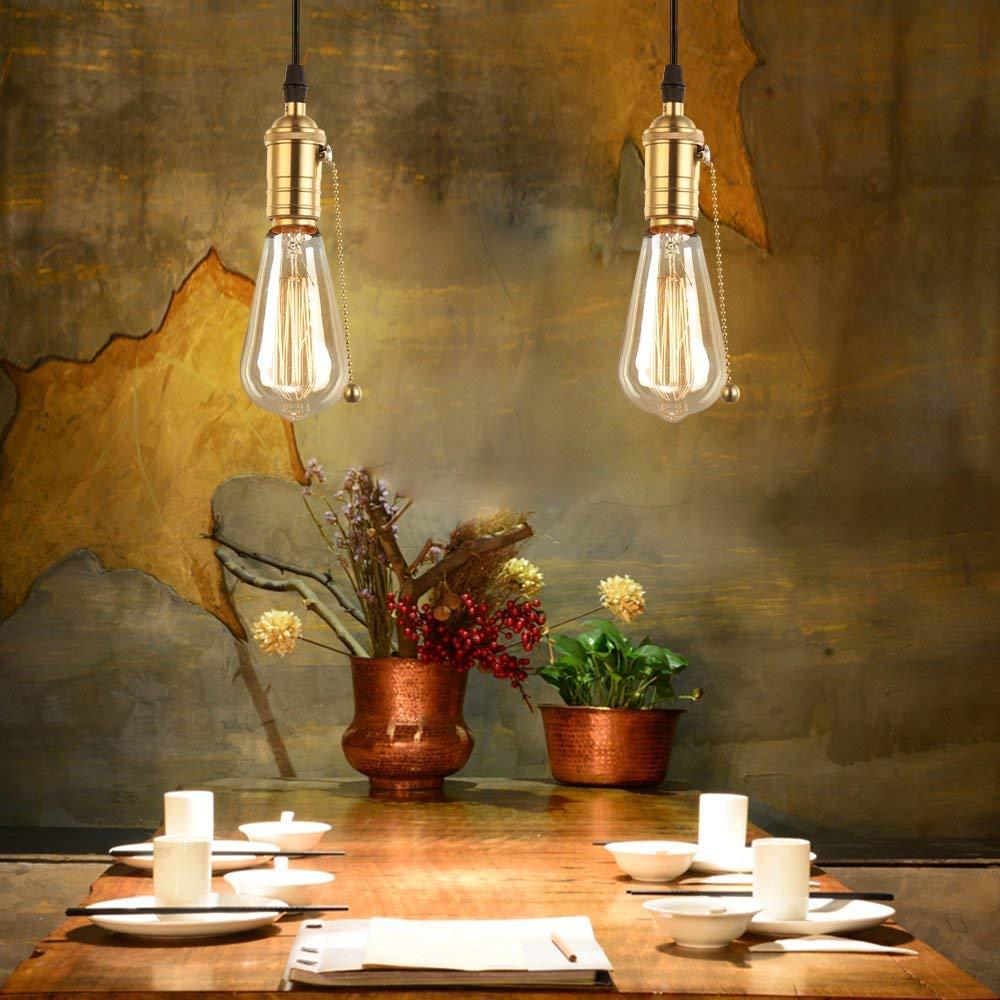 PIANUO Douille Culot de Lampe avec OFF//ON Interrupteur de Cha/îne en Cuivre Laiton Vintage Support pour R/étro Edison Style Ampule E27 DIY