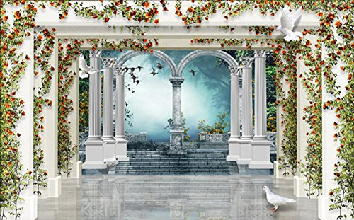 Lwcx Roman Column Rose Gardens Custom Photo Wallpapers Art Wall Paper Restaurant Retro Sofa Backdrop 3D Wallpaper 3D Mural E 300X210CM Garden Spot Wallpaper